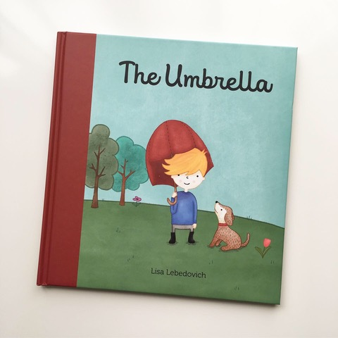 illustration, umbrella, cute, children's book, book, applied arts, red
